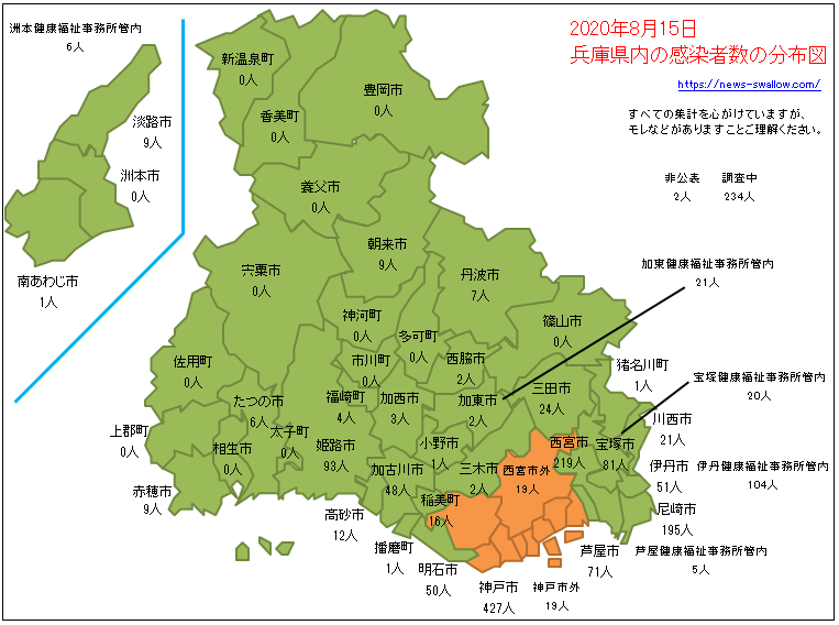 兵庫県 兵庫県内 神戸 神戸市 市町村 区名別 新型 コロナウイルス 新型肺炎 感染者数 分布図 マップ 場所 どこ 2020年 今日 本日 現在 現時点 最新 情報 まとめ 陽性 8月15日 8月16日 8月17日 8月18日