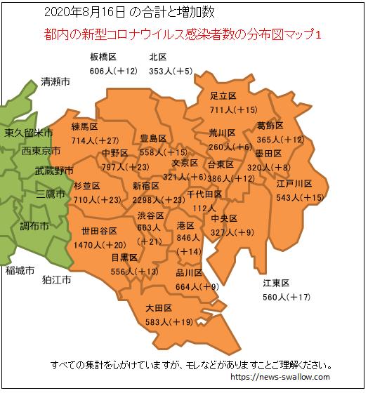 東京都 都内 新型 コロナウイルス 新型肺炎 感染者数 分布図 マップ 場所 どこ 2020年 今日 本日 現在 現時点 最新 情報 まとめ 陽性 8月16日 8月17日 8月18日 8月19日 8月20日 8月21日 8月22日 8月23日 8月24日