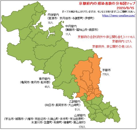 京都府 京都府内 京都 京都市 市町村 区名別 郡 新型 コロナウイルス 新型肺炎 感染者数 分布図 マップ 場所 どこ 2020年 今日 本日 現在 現時点 最新 情報 まとめ 陽性 8月15日 8月16日 8月17日 8月18日