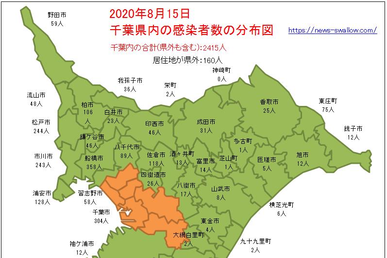 千葉県 千葉県内 市町村 区名別 新型 コロナウイルス 新型肺炎 感染者数 分布図 マップ 場所 どこ 2020年 今日 本日 現在 現時点 最新 情報 まとめ 陽性 8月15日 8月16日 8月17日 8月18日